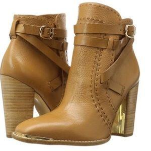 RACHL ZOE Brenda Tan Heeled Boots w/ Gold Detail